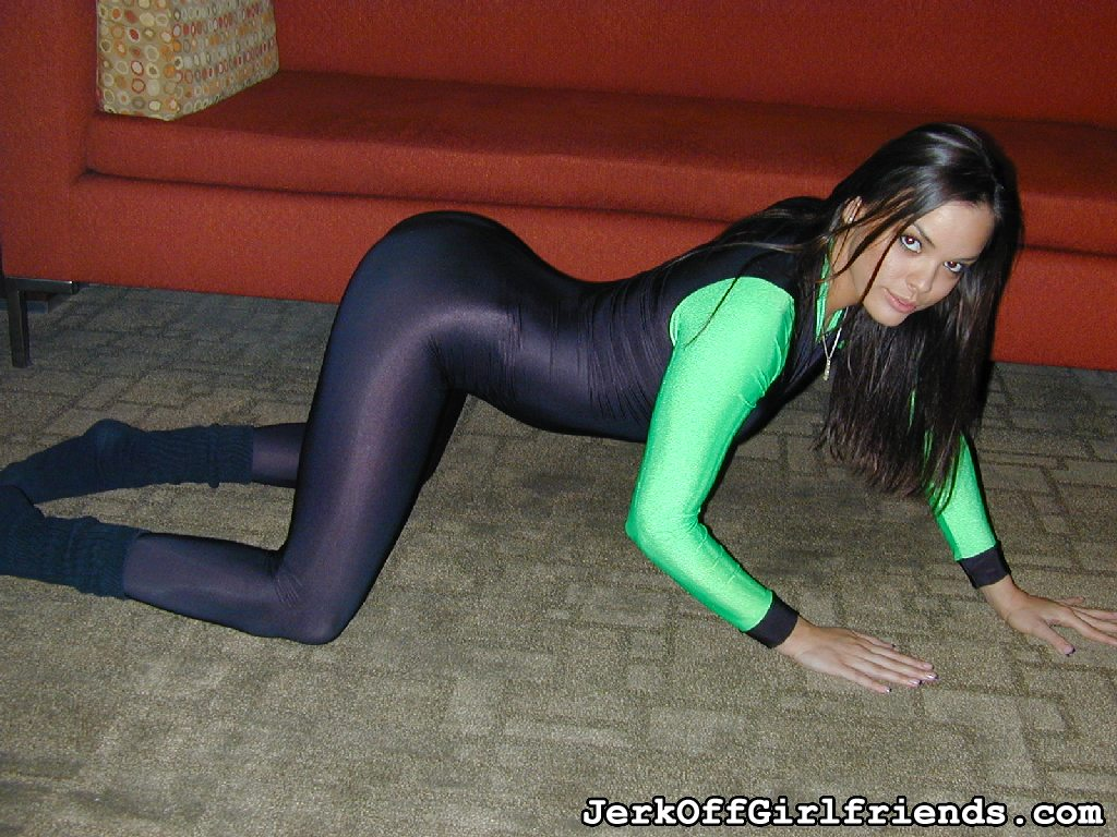 Tight black spandex.